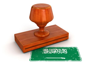 Rubber Stamp Saudi Arabia flag (clipping path included)
