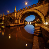 Under the Holy Angel Bridge at Dawn, Rome, Italy