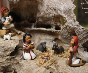 Nativity scene with Jesus, Joseph and Mary in a manger 1