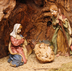 Classic Nativity with Manger where there are also the ox and the