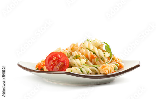 pasta radiatore with tomato sauce