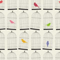 seamless birdcages wallpaper pattern