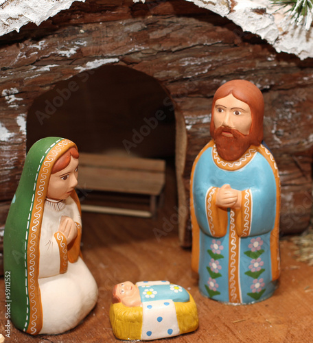 terracotta Nativity with Joseph with the beard