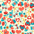 Valentine's and Wedding seamless pattern.