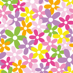 happy colorful flowers pattern
