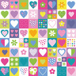 lovely hearts and flowers collection pattern