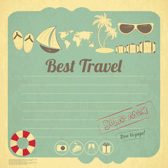Summer Travel Card in retro Style