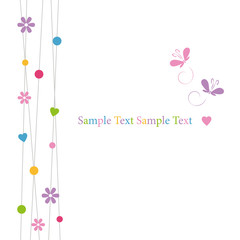 cute hearts flowers dots and butterflies greeting card