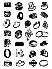 Set of silhouettes of rings