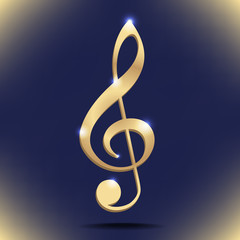 Gold treble clef. Vector illustration