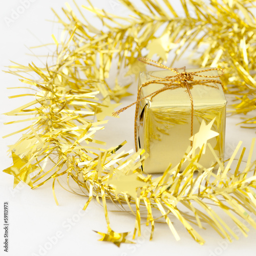 Gold Gift Box New Year and Christmas Decoration