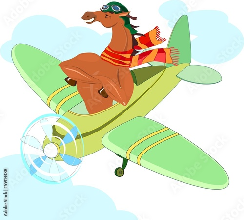 Horse-aviator in an airplane