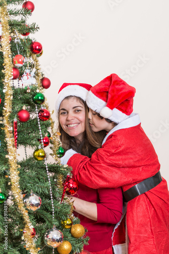 Kissing mom in Christmas