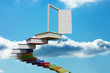 Book steps leading to door against sky