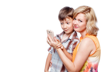 Mother and son with smartphone, wireless technology