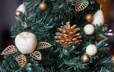 New Year's toys on a fir-tree