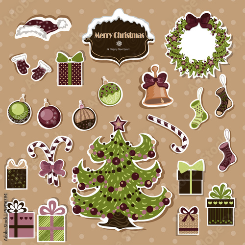 Vector set of Christmas stickers on a beige background