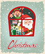 Vintage Christmas poster design with Santa Claus & ELF