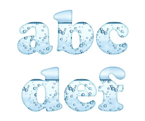 Mineral water characters on white