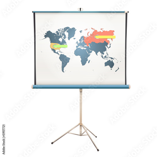 White projector screen with world map inside