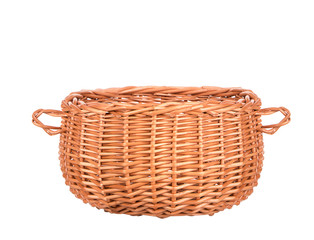 vintage weave wicker basket isolated