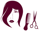 beauty woman face with comb and scissors - barbershop symbol poster
