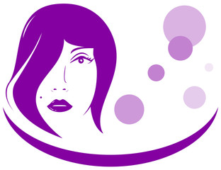 pink icon with woman face - beauty salon symbol