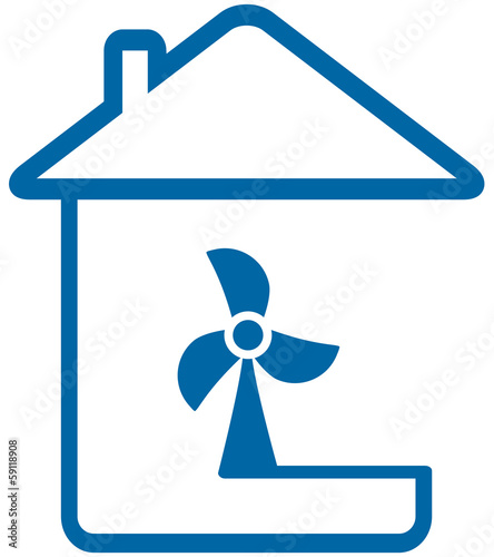 blue isolated icon with home and table fun
