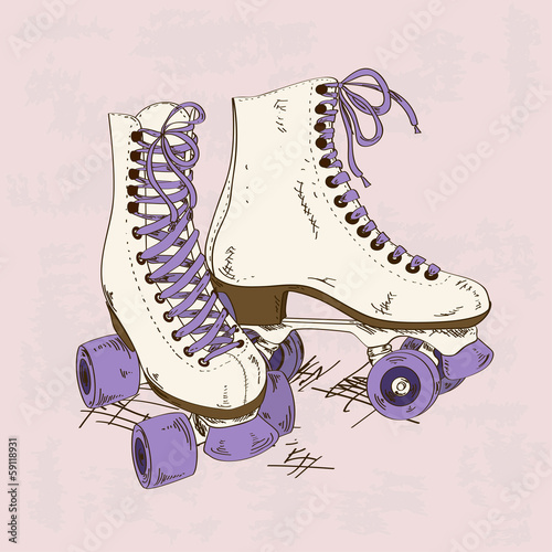 Illustration with retro roller skates - 59118931