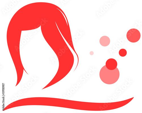 isolated woman hair and red bubbles - barbershop symbol