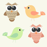 Set of adorable owls and cute birds
