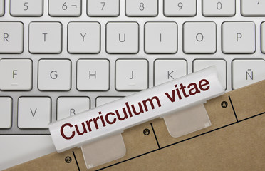 Curriculum vitae. Keyboard and folder