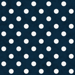 White Polka Dots on Navy Blue Textured Fabric Background
