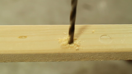 Drilling holes in wood, DIY wood working project