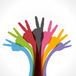 colorful hand victory symbol background vector