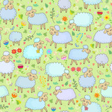 Seamless pattern with a flock of sheep in the pasture