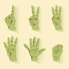 retro  finger counting number hand icon vector