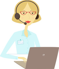 Woman with headset in front of laptop