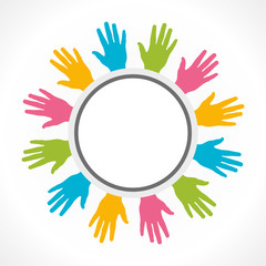 colorful hand arrange in round shape vector