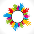 colorful hand arrange in round label vector
