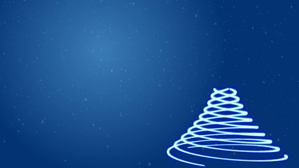 Vintage Christmas tree on blue background. Computer animation