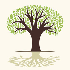 dollar tree and hand tree shadow concept vector