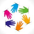 colorful hand arrange in hexagonal  shape vector