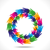 colorful hand arrange in ring shape vector