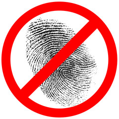 no fingerprint or finger print forbidden sign