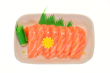 Serving Of Raw Salmon Meat, Japanese Sashimi