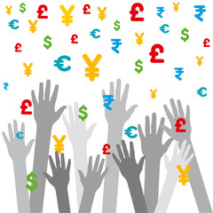 every hand catch falling different currency background vector