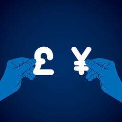 exchange yen and pound currency vector