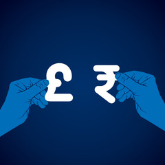 exchange rupee and pound currency vector