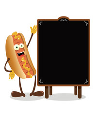 Funny Hot dog and a blackboard